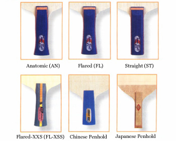 Mangos diferentes en las paletas de ping pong