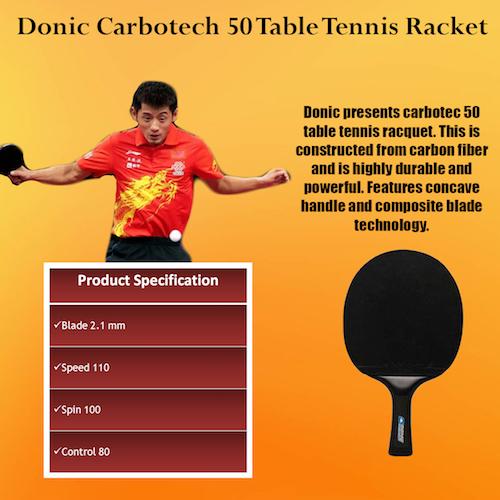 donic carbotec 50 pala de ping pong especificaciones técnicas