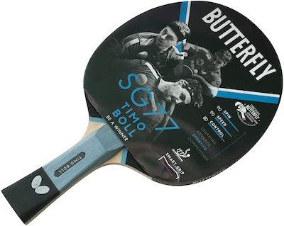 Butterfly SG77 - Bate de Tenis de Mesa, Color Negro y Rojo, uno